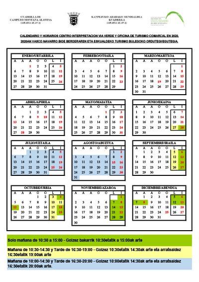 Caendario y Horarios Centro Interpretación Vía Verde y Oficina de Turismo Comarcal en 2020